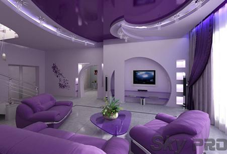 цветной глянцевый потолок фото