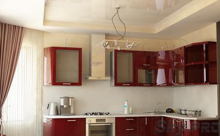 Многоуровневые натяжные потолки на кухне фото